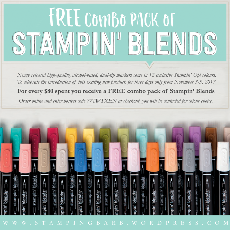 For every $80 spent you receive a FREE combo pack of Stampin' Blends